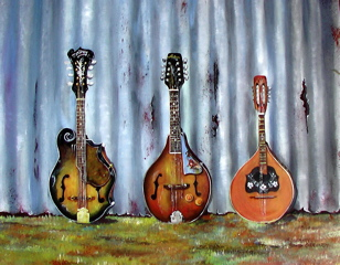 3 Mandolins painted by Rosemary Bond Gerhardy
